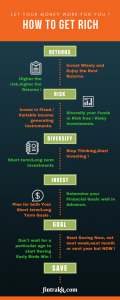 How to get rich infographic, tips for getting rich,finance tips,financial planning