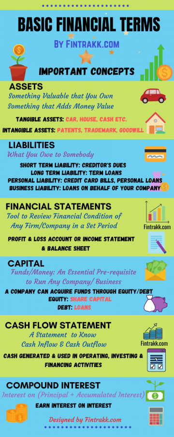 Important Basic Financial Terms Infographic, financial terms and concepts